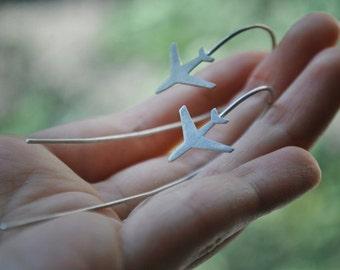 airplane earrings, handmade earrings