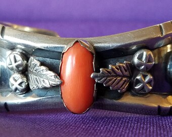 Turquoise and Carnelian Silver Bracelet - 2107