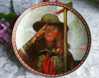 Free US Shipping / Vintage 1988 Norman Rockwell Decorative Plate / On My Honor /  A Mind Of Her Own / Rockwells Studies of Girlhood Knowles