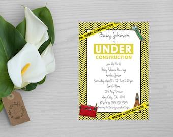 Baby Under Construction Baby Shower Invitation-Construction Baby Shower Invite-Construction Theme Party Invitation-Shower Invitation