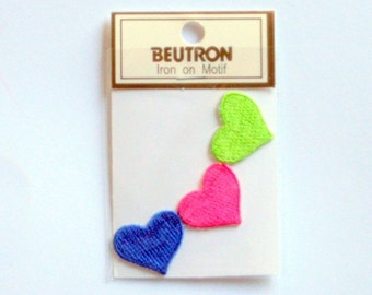 Beutron Decorative Iron-On Heart Motifs (3 in pack)