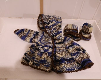 """Blue """"Camo"""" Cable Hooded Cardigan with matching Booties"""