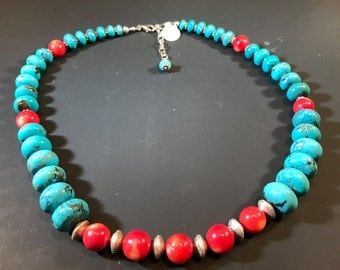 Genuine Turquoise and Red Coral Necklace
