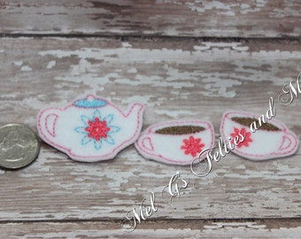 Tea Time Set Feltie / Tea Pot / Tea Cup Feltie / Embroidered Tea Set Feltie / Cut Feltie