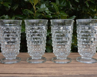 Set of 4 Whitehall Footed Tumblers by Colony, Stacked Cube Design, Clear Drinkware, Barware, Whitehall Tumblers, Water Glasses, Cubist