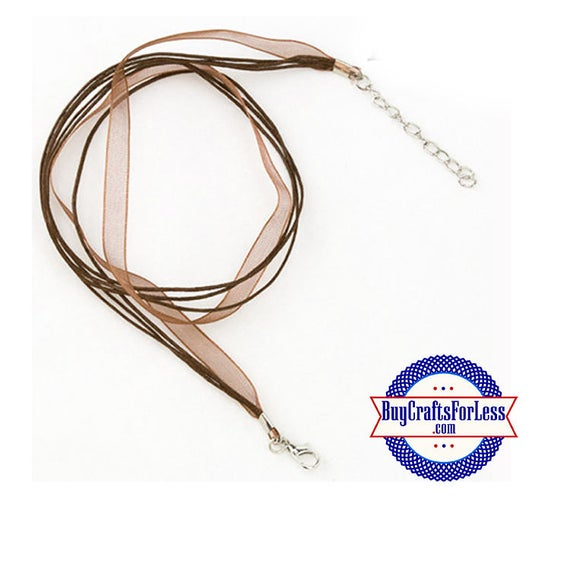 Ribbon CORD necklace, BROWN **FREE Shipping with orders 10 dollars+**