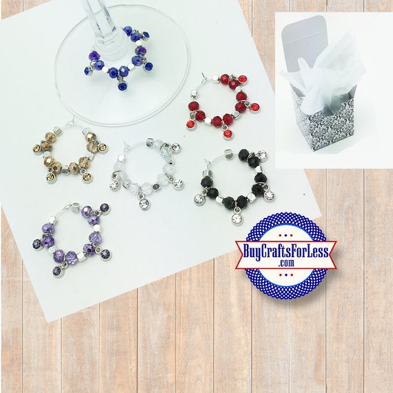 CRYSTAL Wine or Bottle Charms, Napkin Rings, Set of 6  **FREE U.S. SHIPPING**