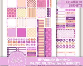 Monthly kit printable, Happy Planner stickers, planner printable stickers, Mambi digital stickers, Classic Happy Planner, Instant Download