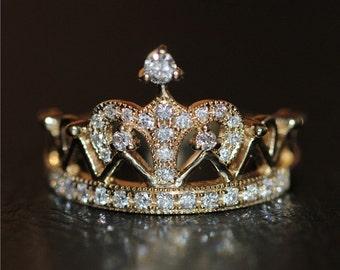 Vintage Engagement Ring Antique Engagement Ring Crown Ring 18k Diamond Engagement Ring 18k Gold Ring 14K Crown Ring 14k Rose Gold Ring