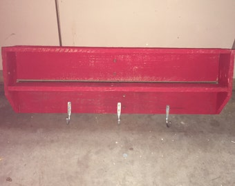 Barn red hanging wall shelf with 3 hooks
