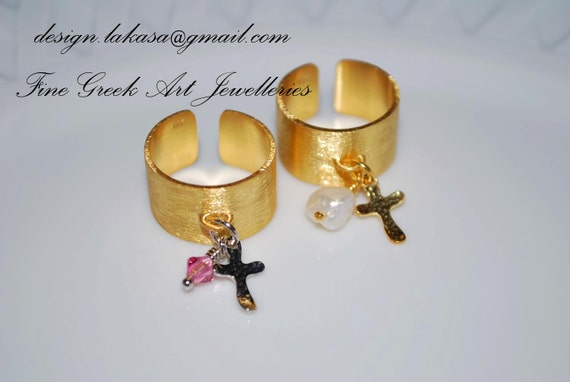 Chevalier Silver 925 Gold-Plated Cross charm with Swarovski Crystal or Pearl