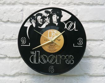 The Doors vinyl record wall clock, ideal for home decor, unique gift present and hand made art, interior design for music fan, 049