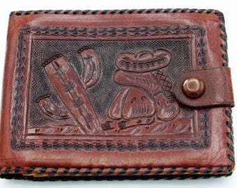 Vintage Hand Tooled Leather Wallet with Zippered Coin Holder