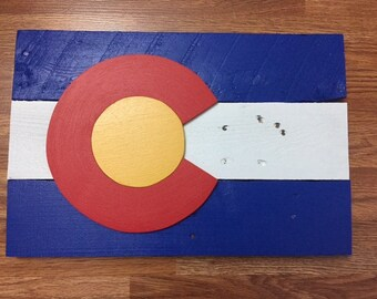 Rustic Wood Colorado State Flag Wall Decor