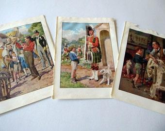Three vintage 1940s Children's Book Pages, Book Plates, Paper Ephemera TW1
