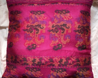 Garland series 1: cushion 40x40cm (16 x 16), vintage sari silk and blends, fuchsia, orange fabric, patterns of colorful paper garlands.