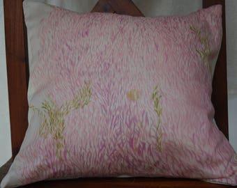 Soleil Levant 5 series: Cover cushion 40x40cm (16 x 16 inches), cotton printed Japanese nani iro grass pattern.
