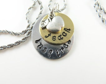 Mini hand stamped teach, inspires necklace