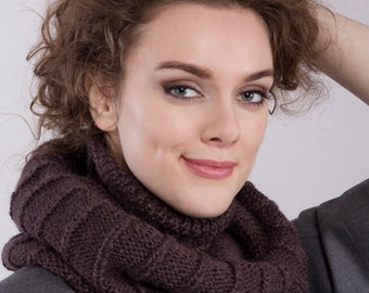 Alpaca wool infinity scarf - knit brown snood - knitted circle scarf - scarf for women