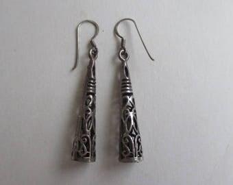 Vintage Open Work 925 Sterling Silver Dangle Earrings