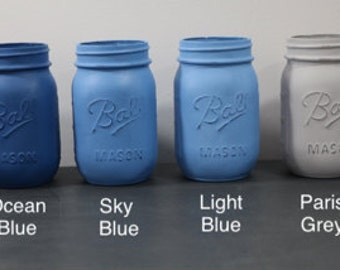 Blue and Grey Mason Jars