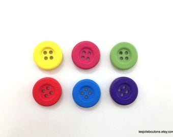 6x Color Wood Buttons 18mm - One color or multicolor pack