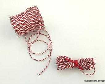 Red & White Paper Cord Ribbon, Paper Twine, Paper Raffia