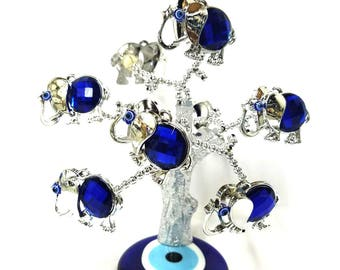 Feng Shui Blue Evil Eye Turkish Flower Tree for Good Luck, protection, positive energy, aura and home decor