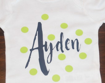 Personalized Baby Gerber Onesie® | Baby Name Onesie | Personalized Baby Gift | Name Baby Bodysuit | Polka Dot Snap-Tee | Name Baby Shirt