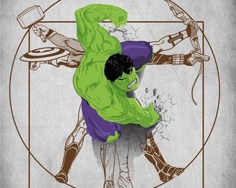Vitruvian Avengers Tee /  Avengers T-shirt /  Thor, Hulk, Iron Man, Captain America / Comic  / Superheroes / Free Shipping worldwide