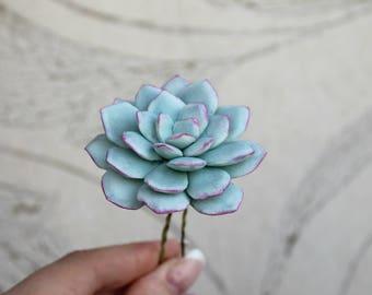 Succulent hair pin Bridal flowers hairpin Wedding hair accessories Bridal headpiece Blue succulent Wedding hair pins bridesmaid hair