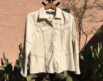 Womens Vintage Shirt, Off White Jacket, Southwestern Shirt, Cowgirl Shirt, Country Shirt, Western Blouse, Santa Fe Style, Canyon Road, Large
