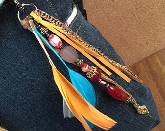 Boho feather charm /Beach bag charm / Key chain Boho / Bohemian tassel jewelry /gypsy beach bag charm/ gift key chain/ key chain boho tassel