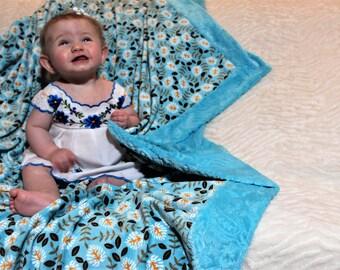 Dreamy Minky Adult Aqua Blue Blanket 58 x 58 in