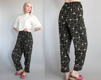 Vtg 90s Black Floral Pajama Pants sz S