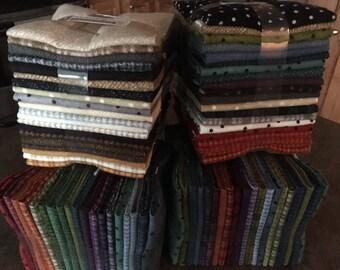 Sale..Woolies Flannel 20 Asstd Random Fat Qtr Bundle - 4 Bundles To Choose From - Colors - Neutrals - By Bonnie Sullivan for Maywood Studio
