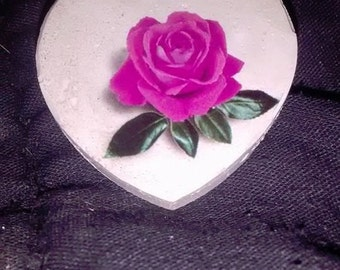 cement heart brooch with rose