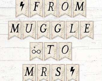 Harry Potter Bridal Shower Banner - From Muggle to Mrs Harry Potter Printable Bridal Shower Banner - Instant Download