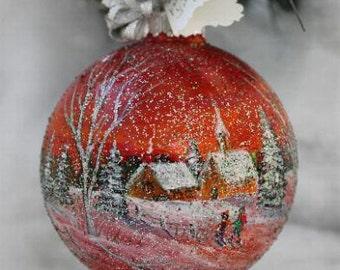 Christmas Ornament - Hand Painted Christmas Ornament - Gift for her - Hand Painted Ornament - Christmas Hand Painted Ornament - Holiday Gift