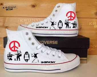 Banksy Hi Top Converse All Star shoes w/ Swarovski Crystals
