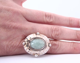 925 silver ring and jade stone