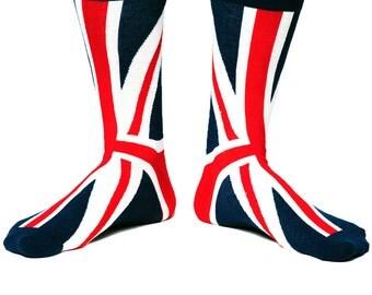 Funky Knit Creative Socks for Guys - British Flag England Union Jack