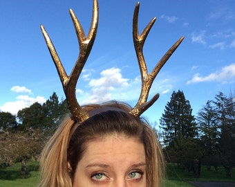 Gold Deer Antler Headband - Antler Headband - Reindeer Antlers - Faun Costume - Headband Horns- Festival Headpiece - Eclipse - Festival