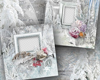 Digital Scrapbook Quick Page, Winter Layout, Premade Scrapbook Layout, Winter Themed Scrapbooking Quick Pages, 12x12, Premade Scrapbook Page