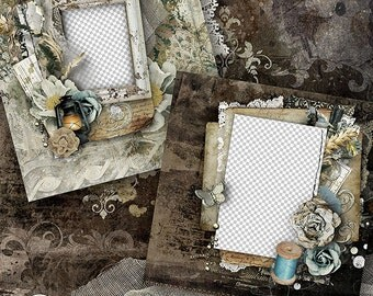 Digital Scrapbook Quick Page, 12x12, Vintage, Shabby, Heritage, Premade Scrapbook Layout, Premade Digital Scrapbook Page - Olden Days