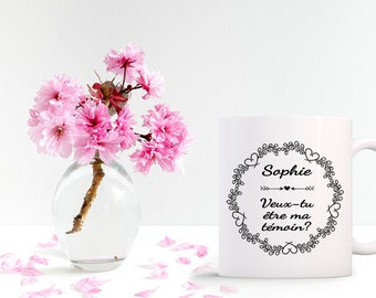 Mug request witness - gift personalized with first name for great best man at your wedding