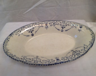 Antique French porcelain china blue and white hors d'oeuvre dish