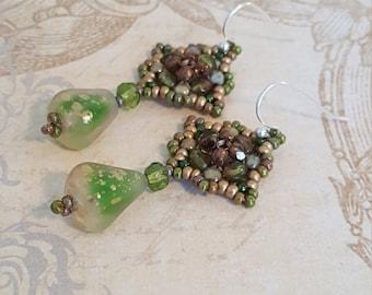 Woven Beaded Rosette Earrings-Czech Glass Teardrop-Santa Fe Artistry-Seed Beads, Fire Polished Beads, Mandala Earrings