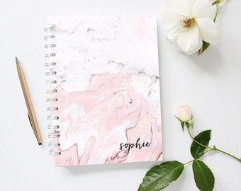 Personalized Notebook Cover, Marble Notebook, Bujo, Bullet Journal, Monogram Notebook, Pink Notebook, Spiral Notebook, Custom Notebook,