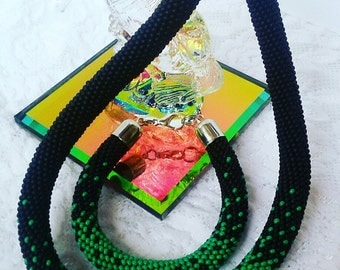 Beaded Crochet Necklace.Beaded Crochet Bracelet.Crocheted necklace.Crocheted bracelet.Beadwork necklace and bracelet